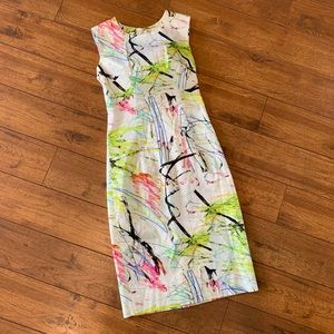 Milly Scribble Abstract Print Sheath Dress